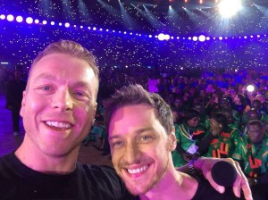 The Chris Hoy-James McAvoy selfie: my highlight of the Glasgow 2014 Opening Night.